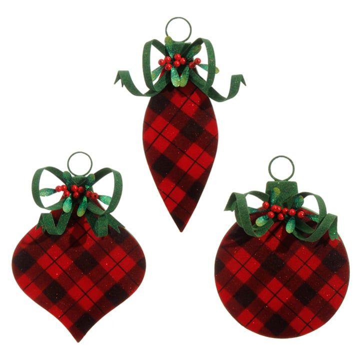 RAZ Flocked Buffalo Plaid Christmas Ornament Set of 3 Assorted ...