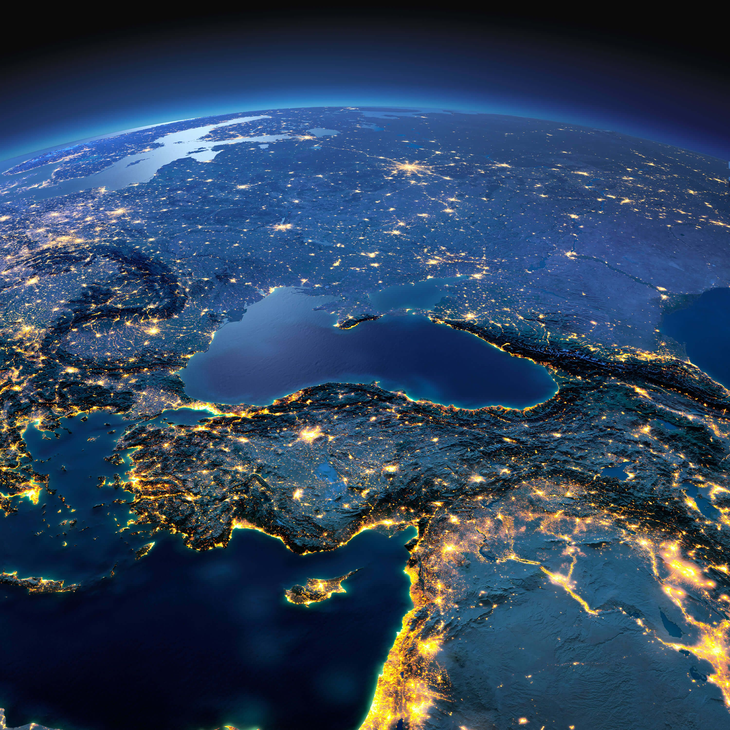 Turkey And Middle East Countries Night Satellite Image Maps Of - Middle east satellite map