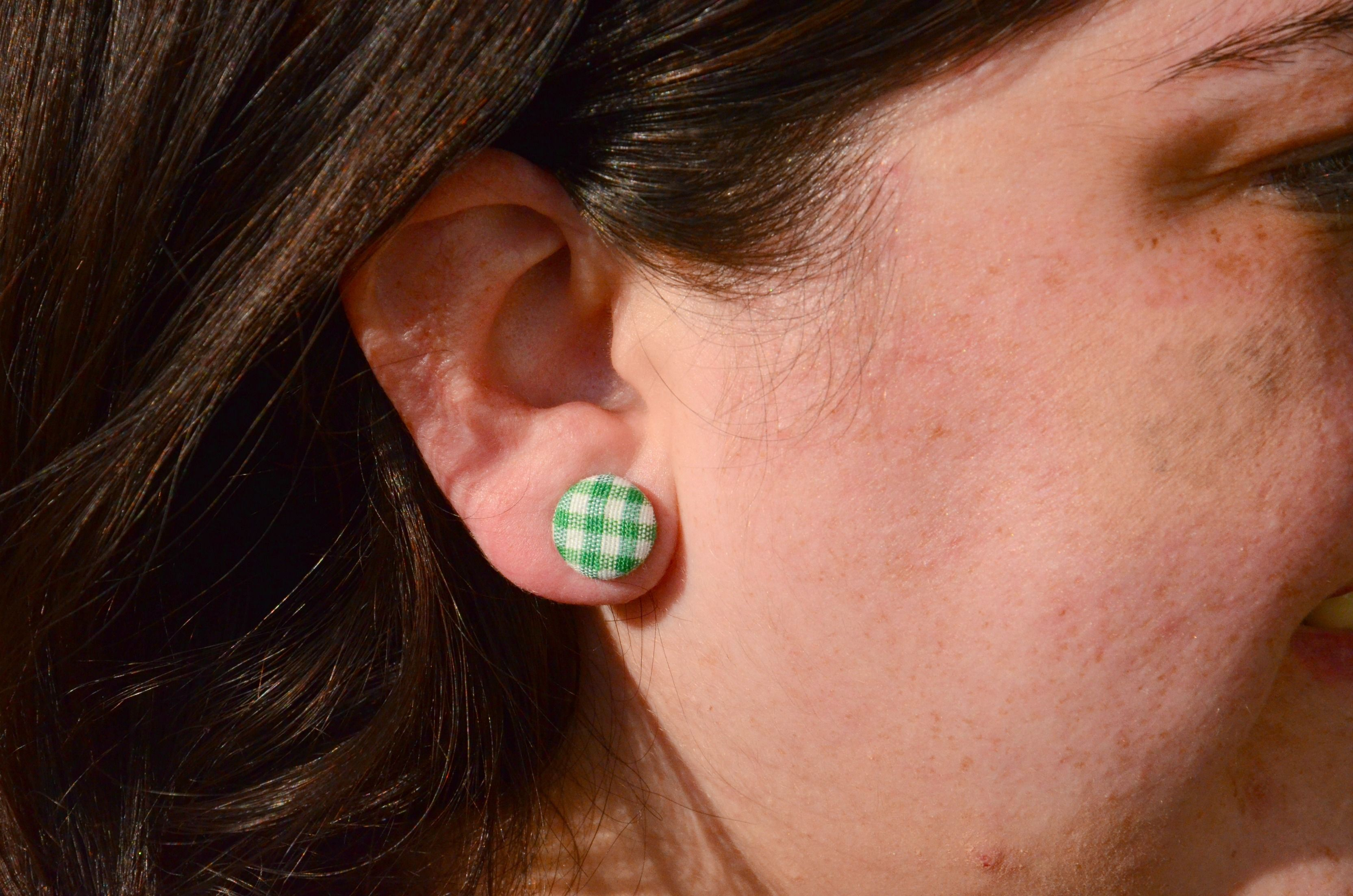 Green Gingham Button Earrings (Love these via @kristin1028