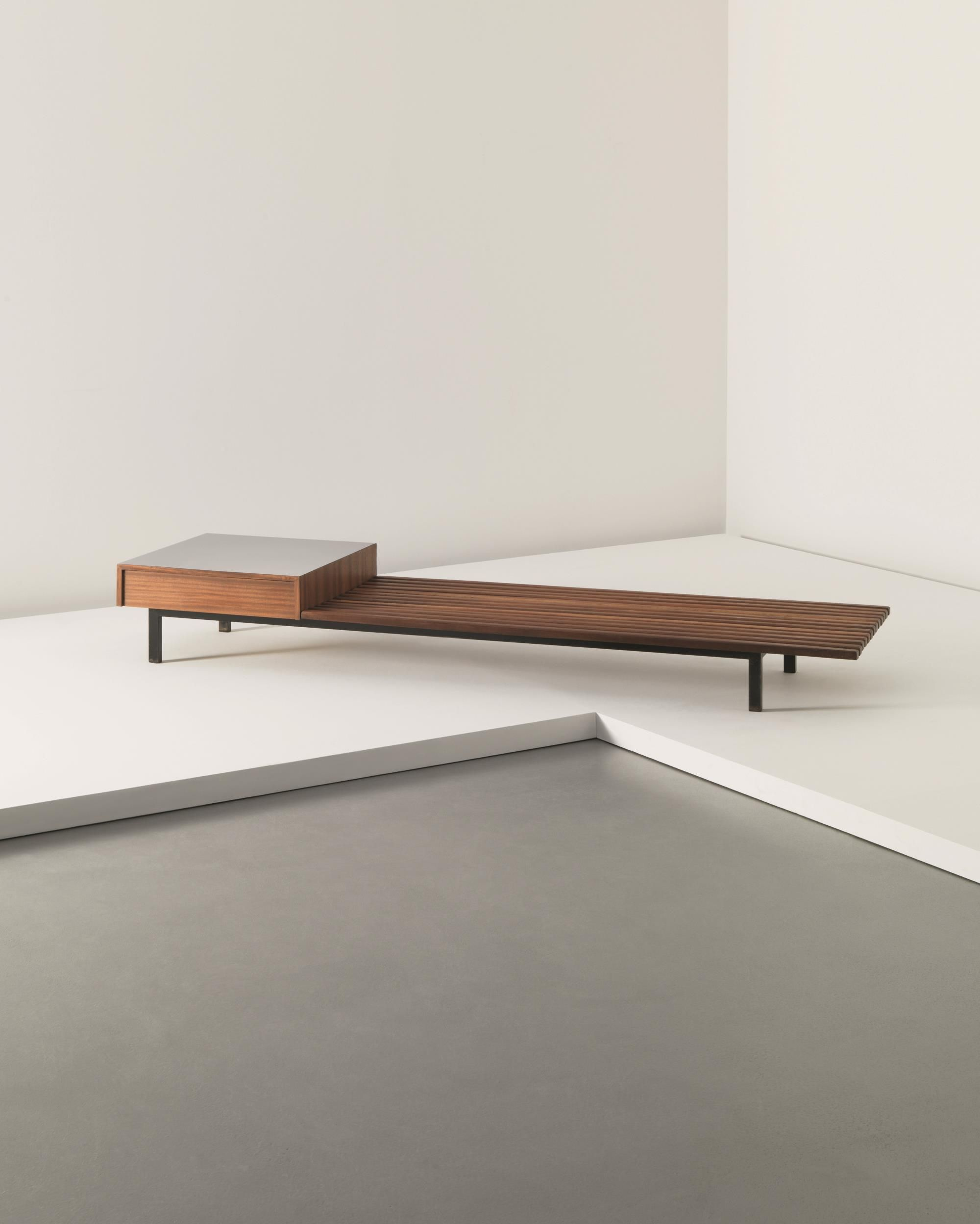 charlotte perriand bench with drawer from cit cansado mauritania circa 1958 oak plastic. Black Bedroom Furniture Sets. Home Design Ideas