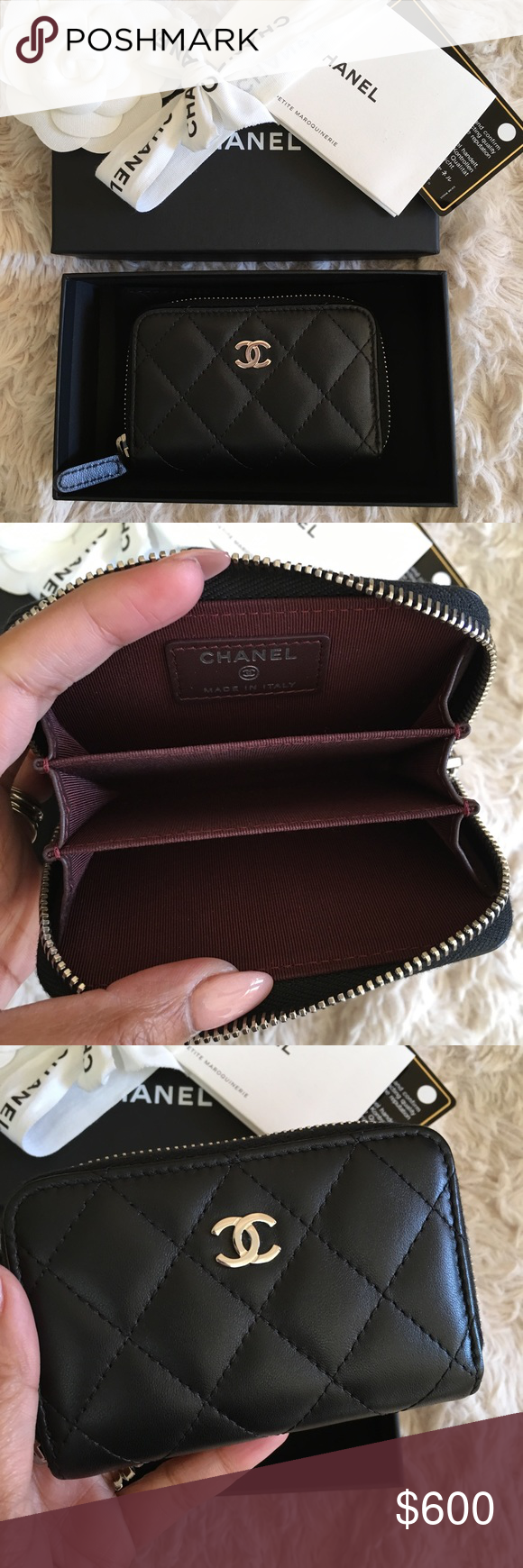 Chanel O coin case Almost new comes complete..Black lambskin with ...