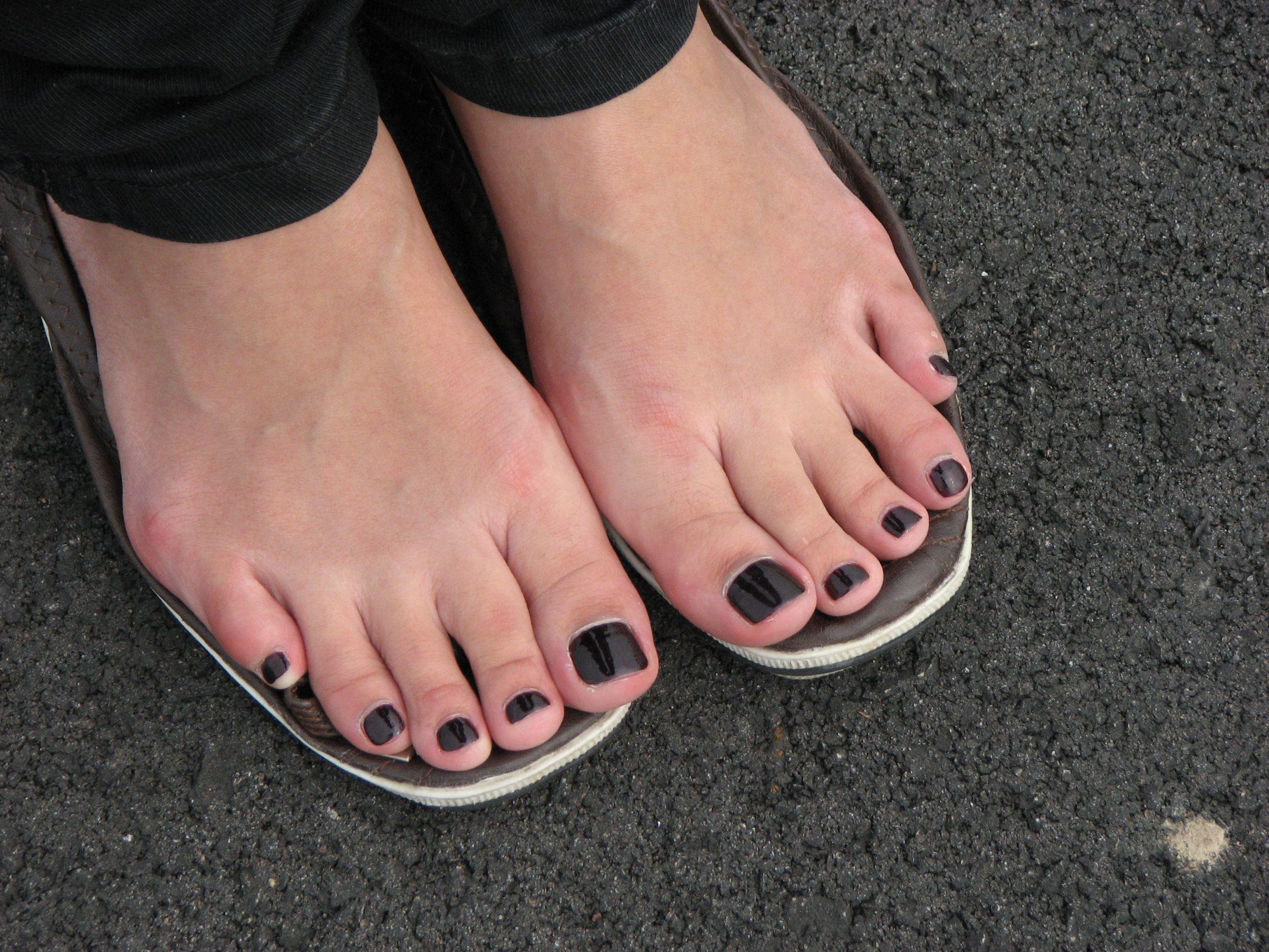 Black painted toenail fetish
