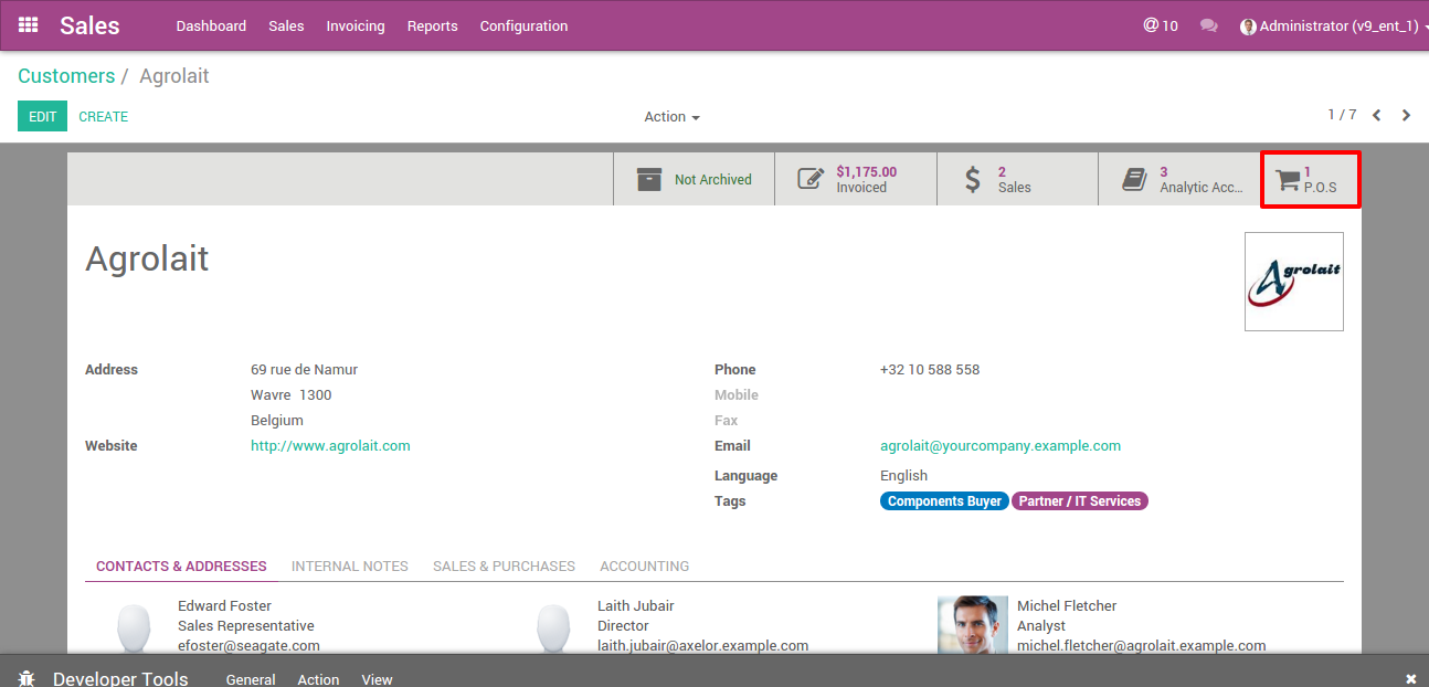Odoo Customer POS Order Open a POS Orders directly from