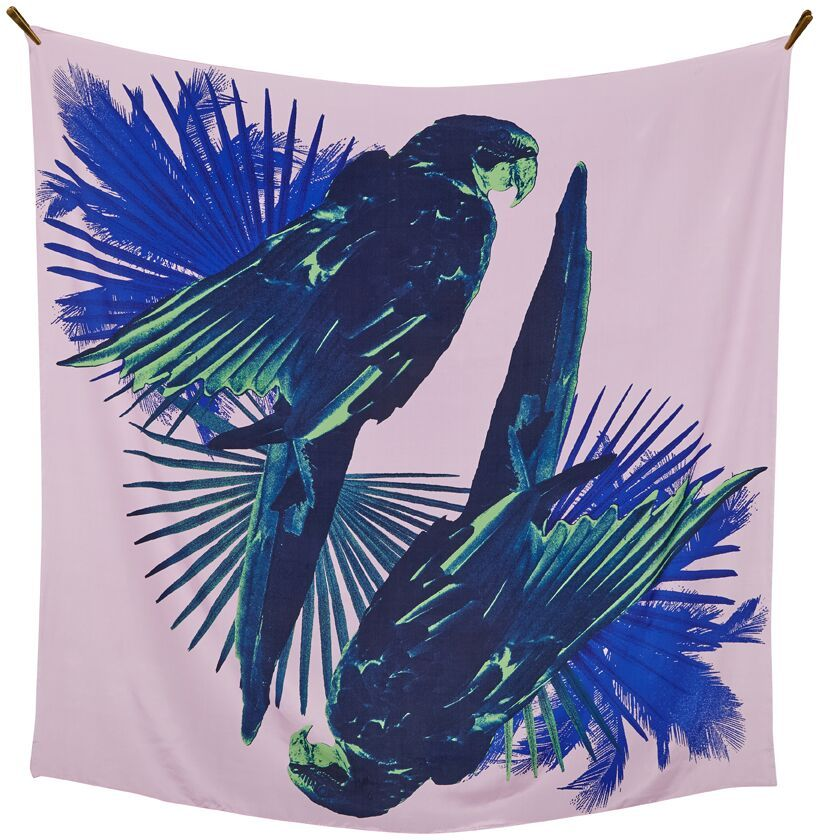 Parrots Talk - silk scarf 140x140 cm ss16 in pink and blue