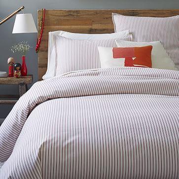 Ticking Stripe Duvet Cover Shams Stone White Chili Striped Duvet Covers Striped Duvet Red Bedding