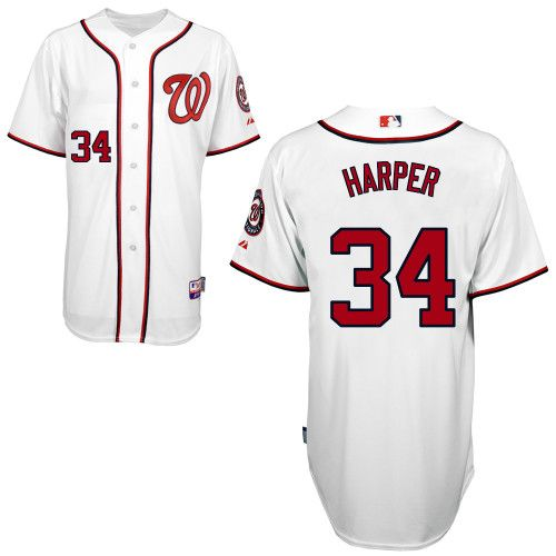 size 40 cfed7 cada9 Nationals #34 Bryce Harper White Cool Base Stitched MLB ...