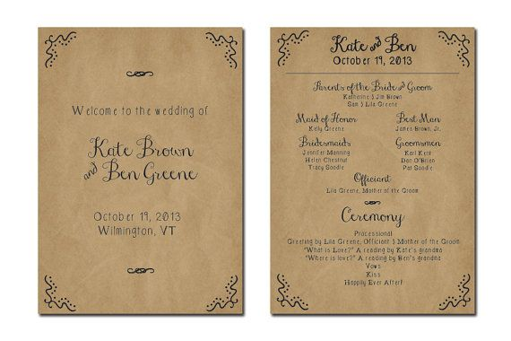 Printed Wedding Program | LOGO | Pinterest | Lakes, Rustic wedding ...