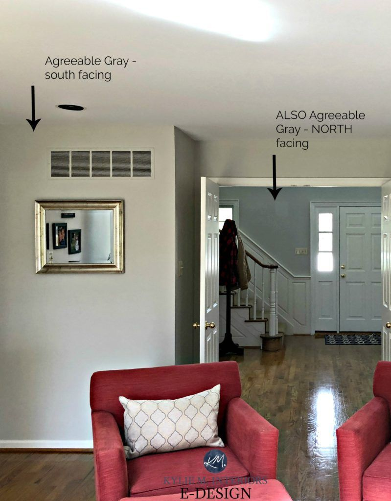 Can I Paint My North Facing Room Gray? #sherwinwilliamsagreeablegray Sherwin Williams Agreeable Gray, greige paint colour in NORTH and south facing rooms. Kylie M Interiors Edesign, online paint colour expert. paint review #edesign #kylieminteriors #kyliemedesign #agreeablegray #swcolorlove #greige