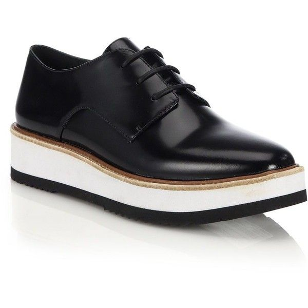 Vince Reed Glazed Leather Platform Oxfords (€310) ❤ liked on Polyvore featuring shoes, oxfords, apparel & accessories, black, shiny black shoes, black platform oxfords, oxford shoes, vince shoes and black platform shoes