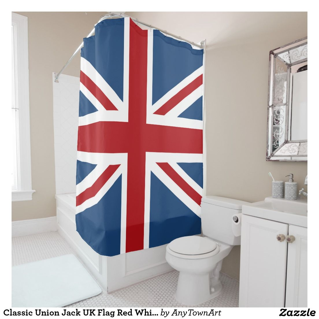 Classic Union Jack UK Flag Red White Blue Shower Curtain