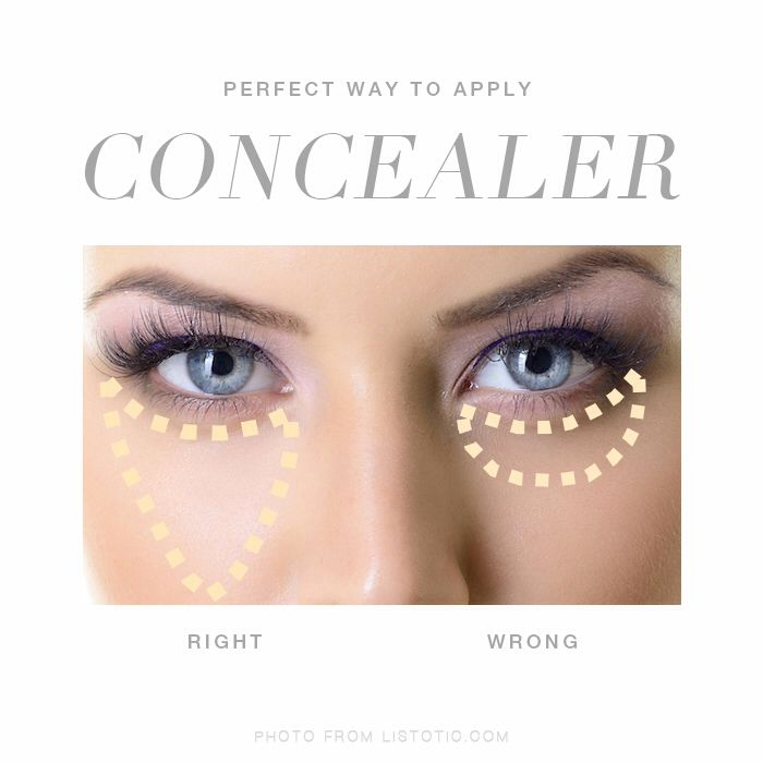 Image result for make a triangle with concealer under your eyes pic