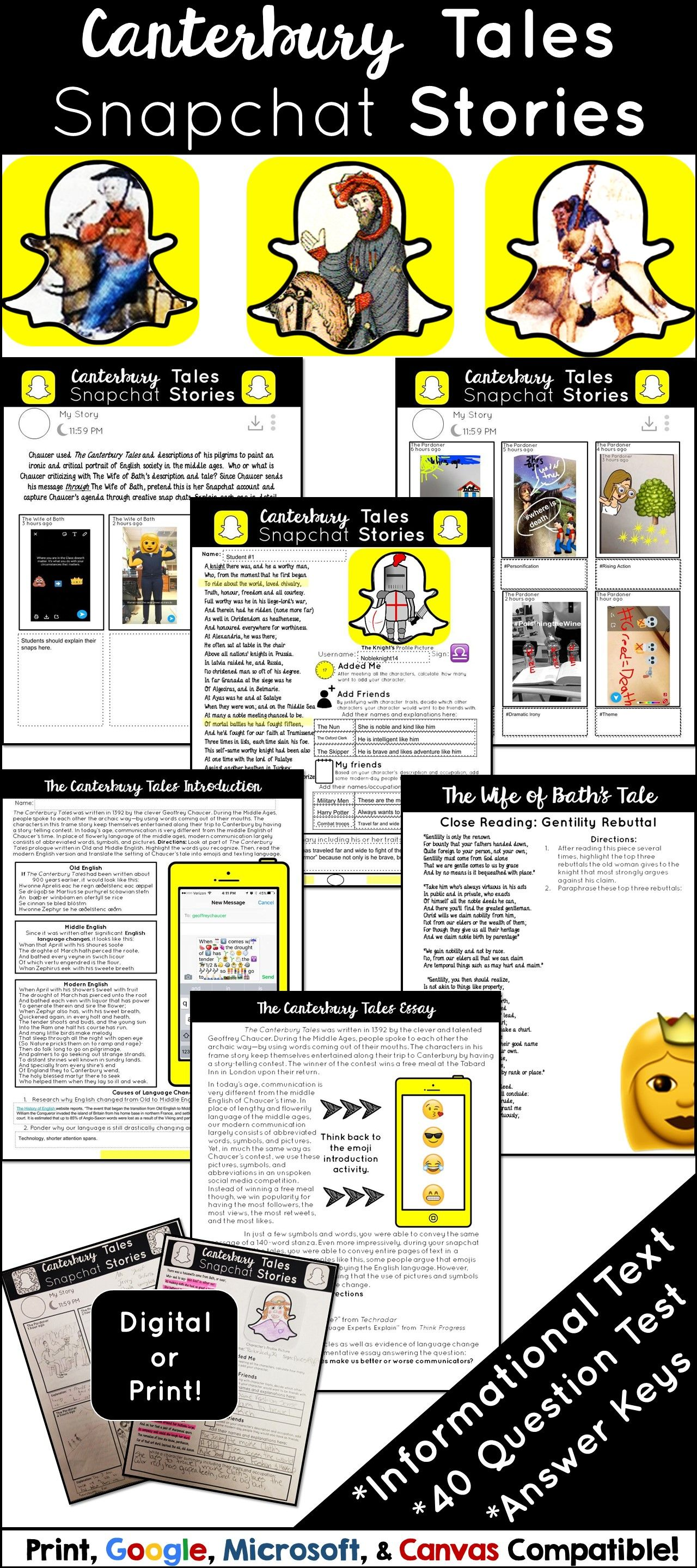 the canterbury tales unit plan activities test and essay the canterbury tales meet snapchat stories fun activities for the canterbury tales that students will