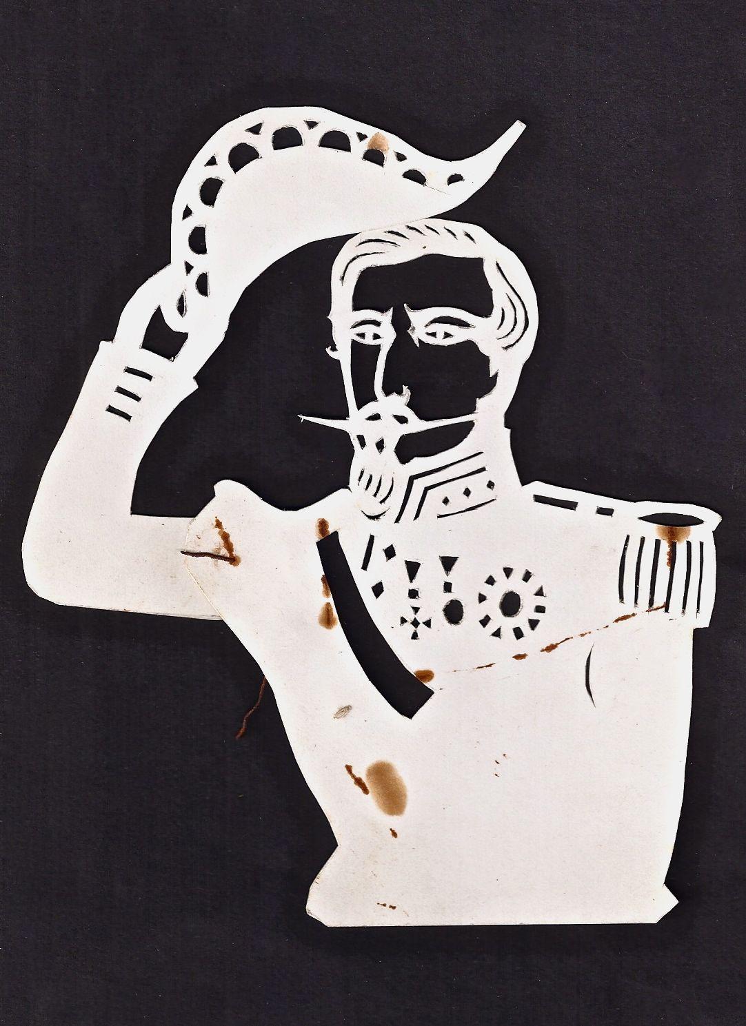 Vintage Hand Drawn Paper Cutout/ Stencil (Military Man