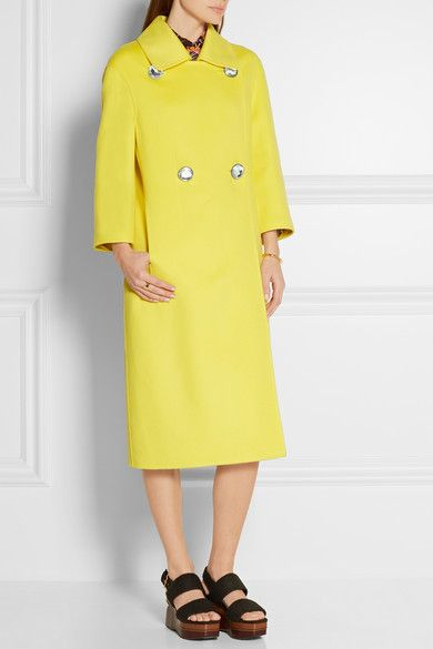 Bright-yellow wool, cashmere and angora-blend Button fastenings through  double-breasted
