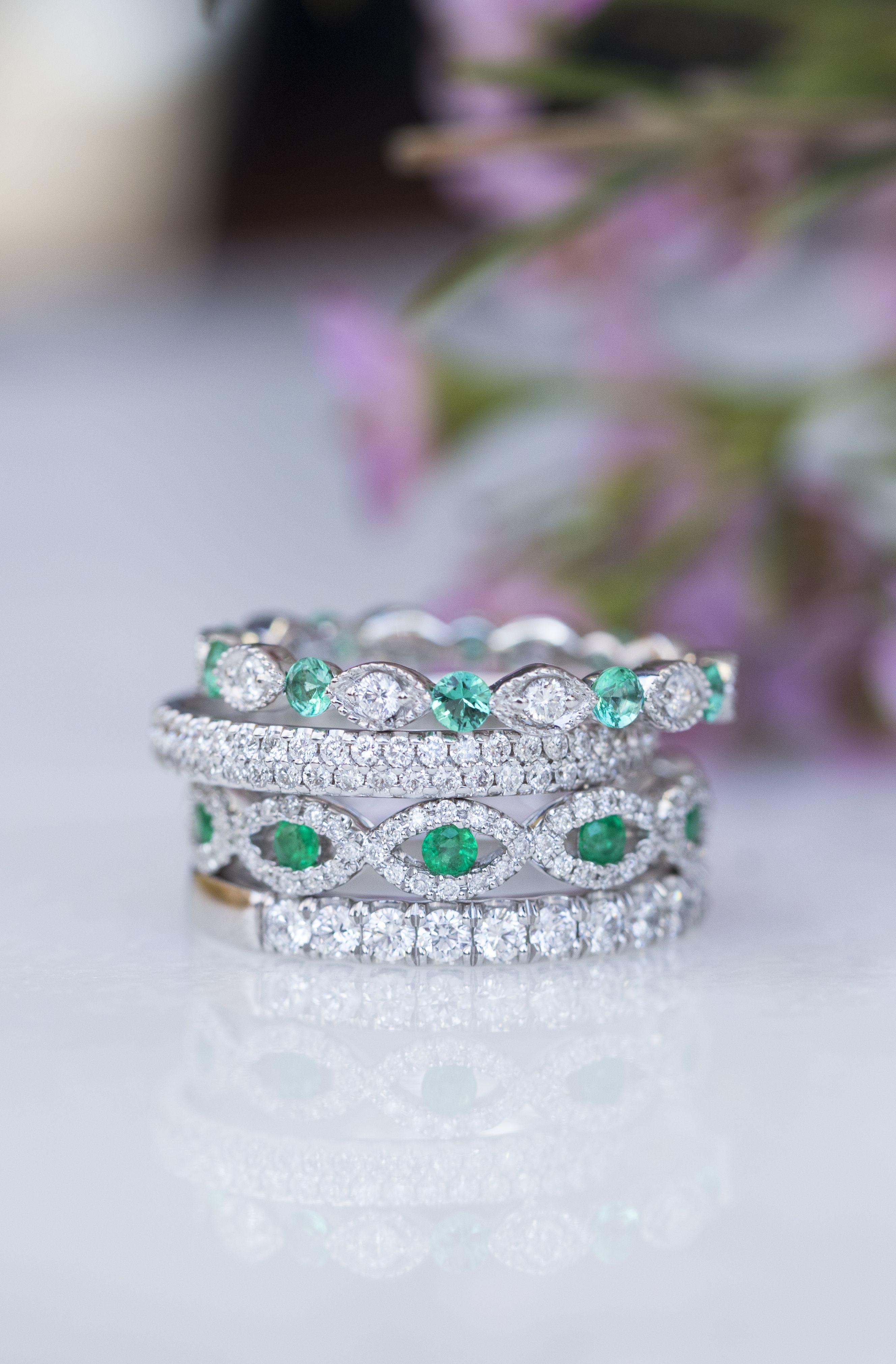 Diamond And Emerald Ring Stack Weddingband Anniversaryband Eternityring Diamondring Diamonds Emerald Band Ring Unique Diamond Rings Emerald Ring