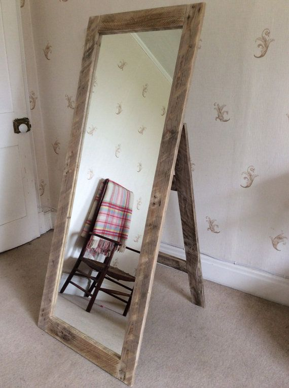 Rustic Full Length Mirror wall mounted or with stand made from ...