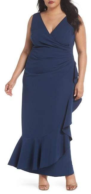 26796e8a8d Vince Camuto Laguna Faux Wrap Ruffle Gown (Plus Size)