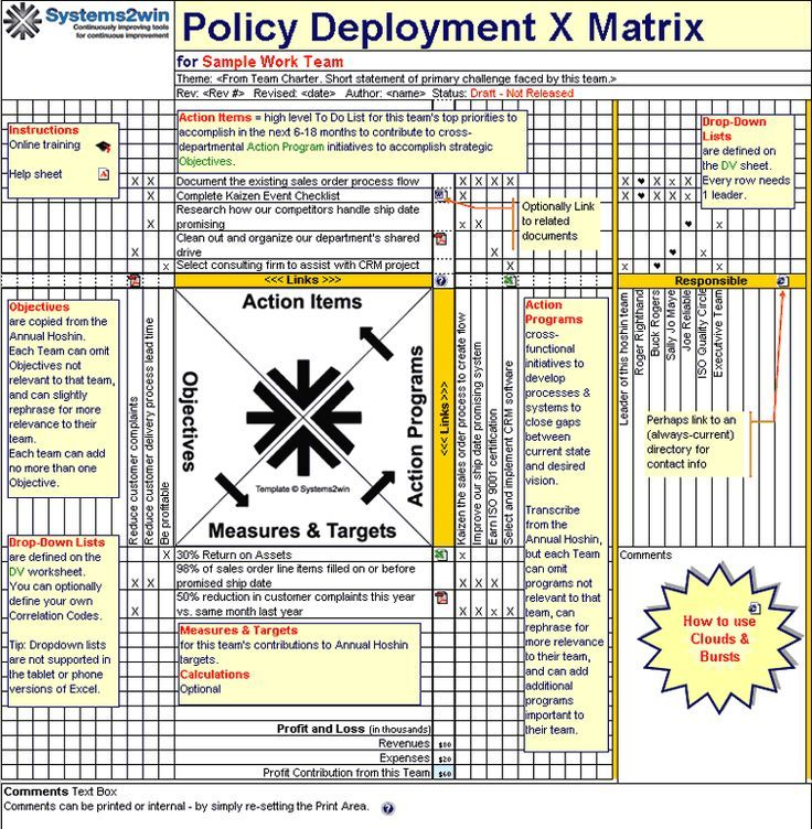 Example of Policy Deployment Matrix For Life Pinterest Lean