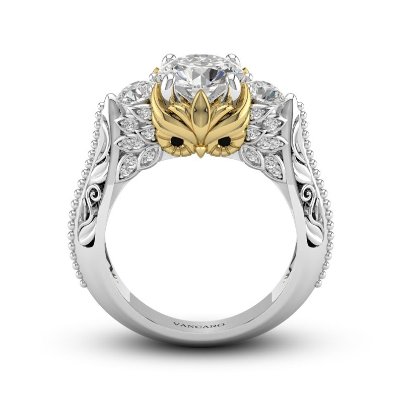 Owl Inspired Trilogy Ring In White Gold Plated Sterling Silver For Women Gemstone Diamond Engagement Rings Skull Wedding Ring Skull Engagement Ring