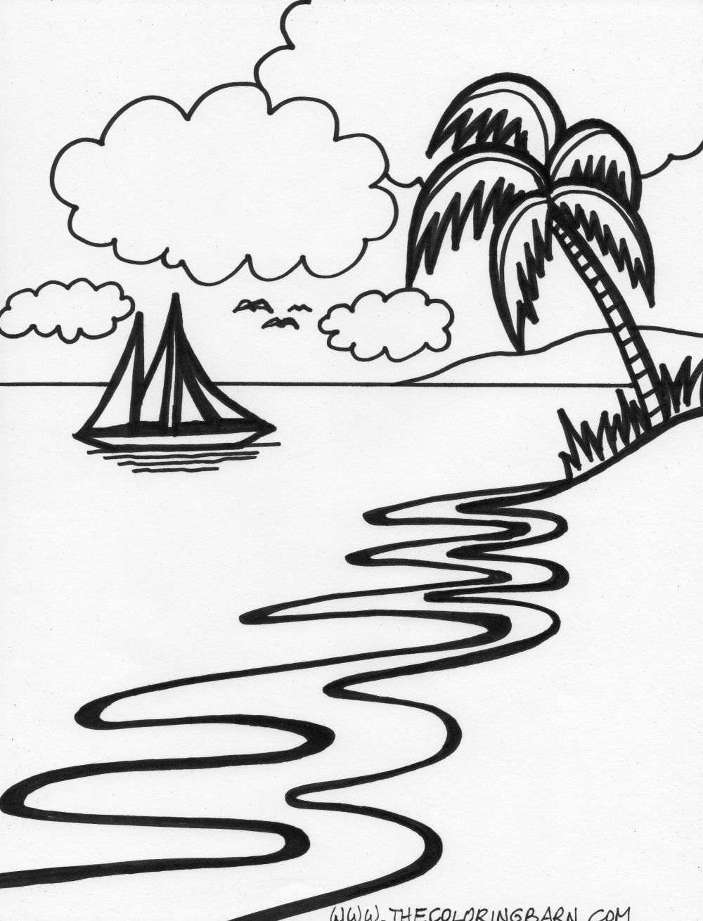 Island Beach Coloring Pages Coloring Pages Coloring Pages Nature [ 1310 x 1000 Pixel ]