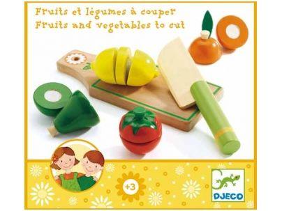 Medinis PJAUSTOMŲ vaisių ir daržovių rinkinys, DJECO, vaikams nuo 3+ metų (DJ06526)