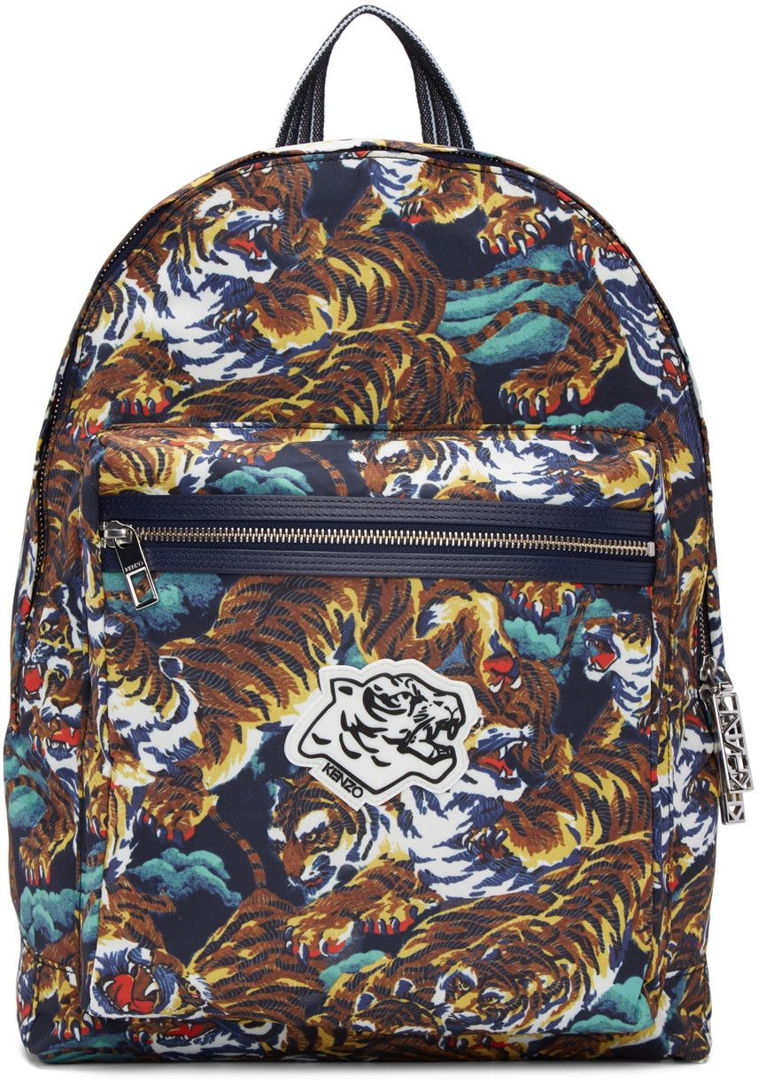 Calf Leather Blend Tiger Print Backpack Travel Bag Multi Kenzo Bacpack Multicolor Flying Tigers Bags Lining Nylon Backpacks