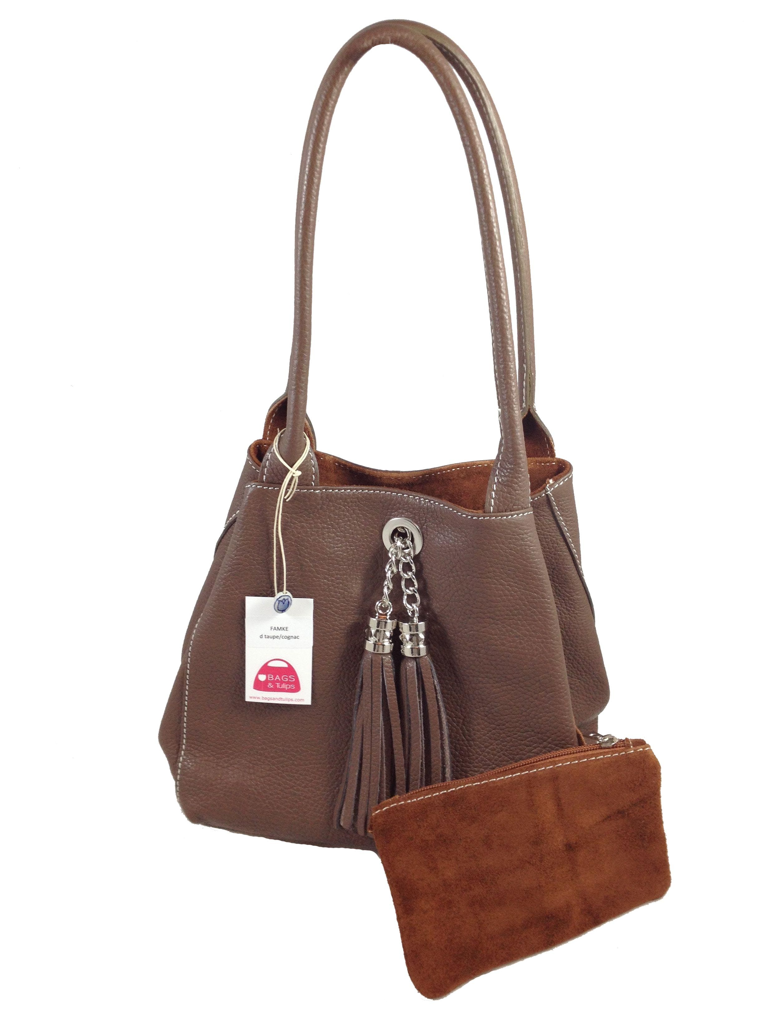 Love This Dark Taupe Leather Cognac Suede Reversible Italian Handbag Fits Almost Every Outfit Reversibleleatherhandbag