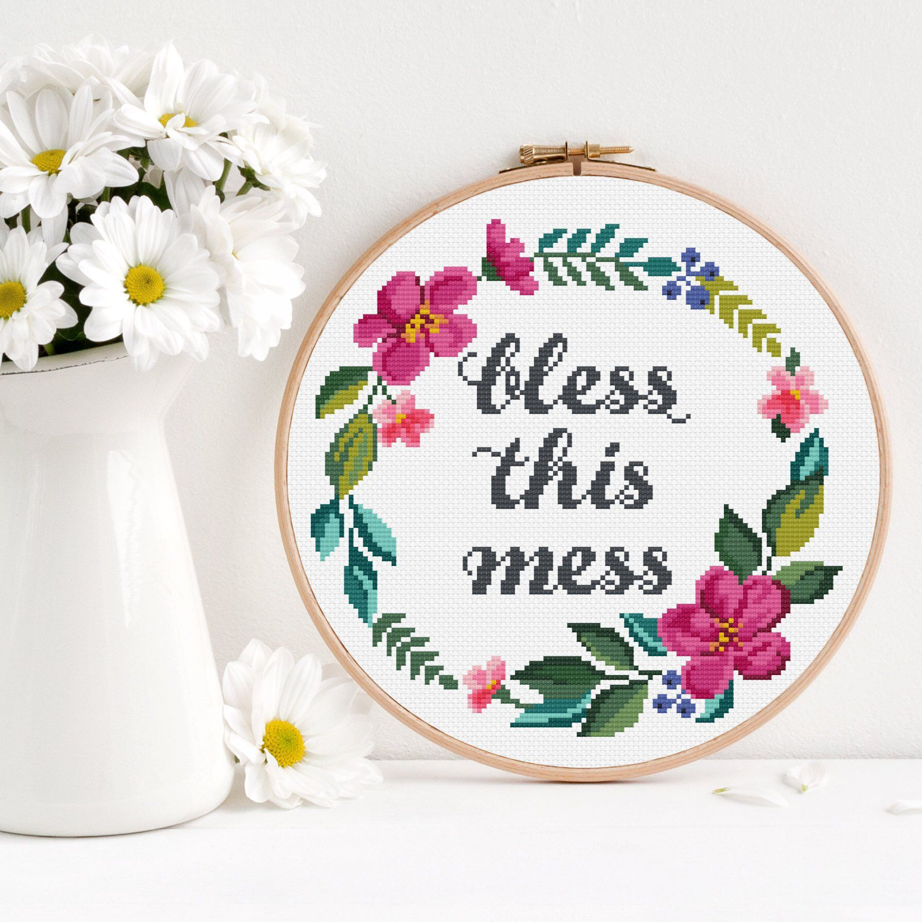 Photo of Cross stitch pattern Bless this mess / Quote cross stitch / Funny cross stitch pattern / Floral cross stitch / Flower wreath cross stitch