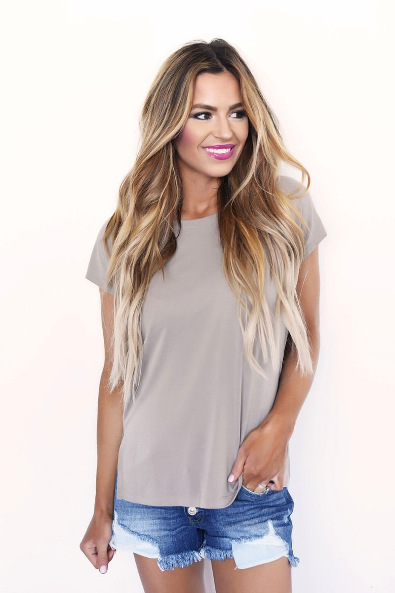 Taupe Open Back Tee - Dottie Couture Boutique