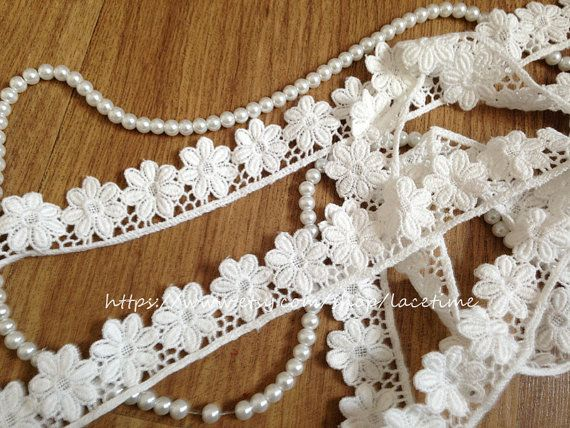 Lovely Cotton Lace Trim White Daisy Lace Trim Daisy by lacetime, $3.99