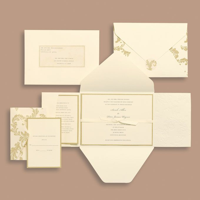 michaels wedding department: silver foil floral invitation, Wedding invitations