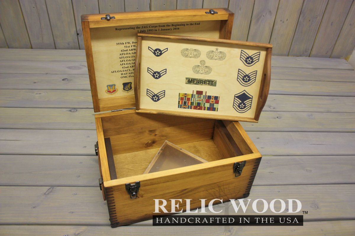 Custom Military Retirement Keepsake Shadow Box Relic