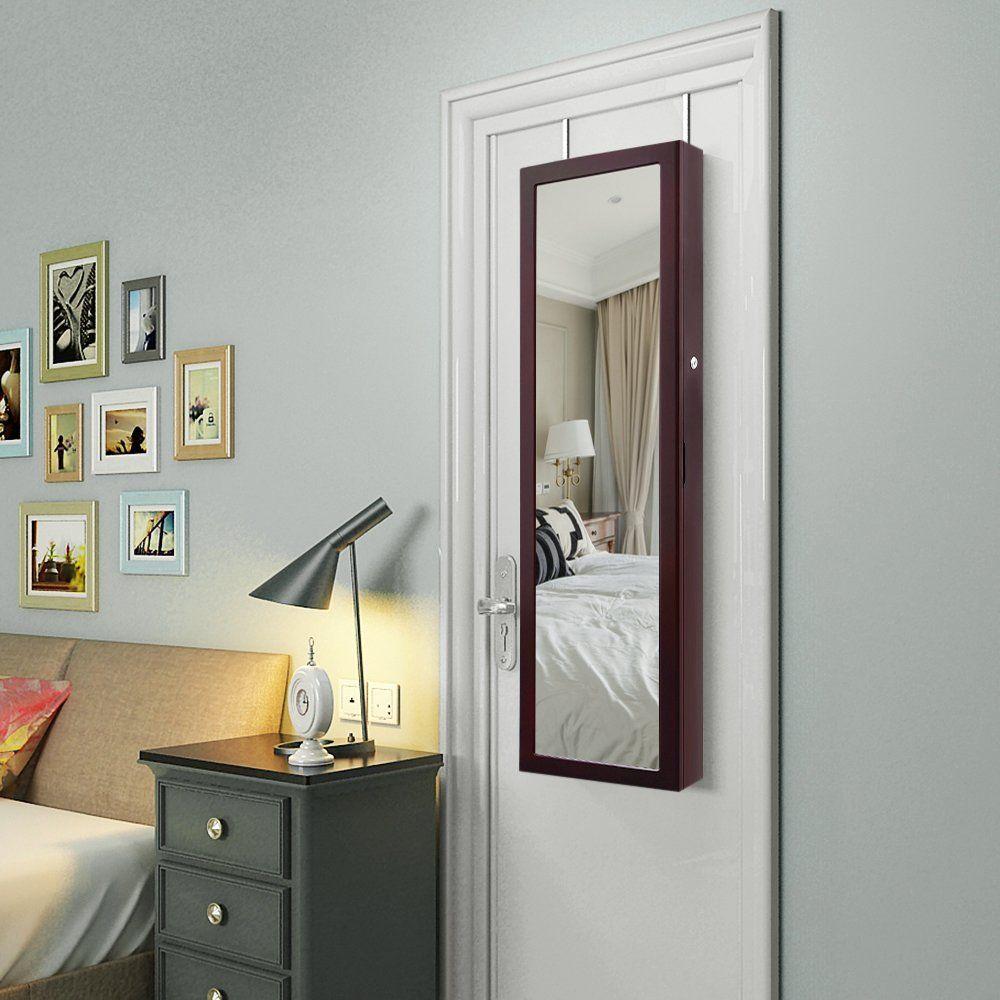 Amazon Com Songmics 6 Leds Jewelry Cabinet Lockable Wall Door Mounted Jewelry Ar Jewelry Cabinet Mirror Jewelry Storage Wall Mounted Jewelry Armoire