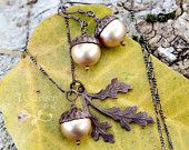 Antiqued Brass Acorn, Oak Leaf Necklace & Earrings Set - Vintaj Brass, Swarovski Pearls