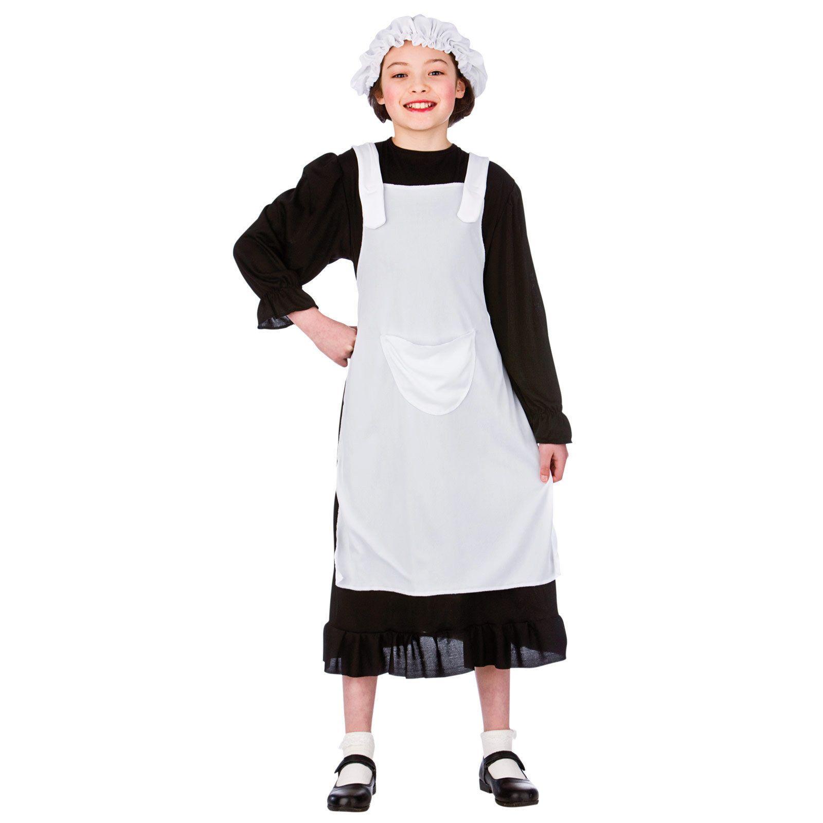 White tudor apron - Kids Tudor Victorian Poor Girl Peasant Maid Fancy Dress Up Role Play Costume