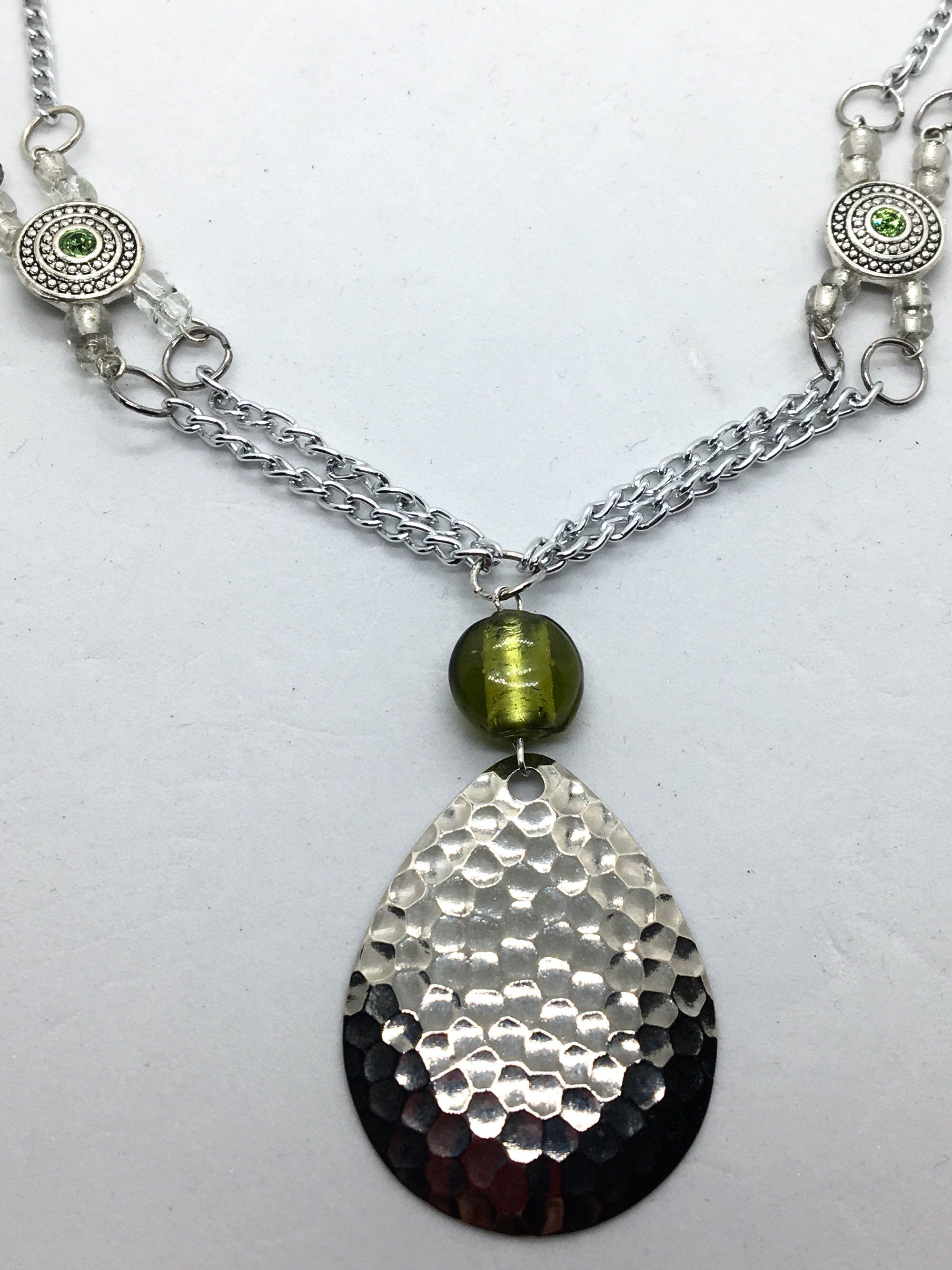 Green Bead Multi Chain Fishing Lure Necklace Jewelry