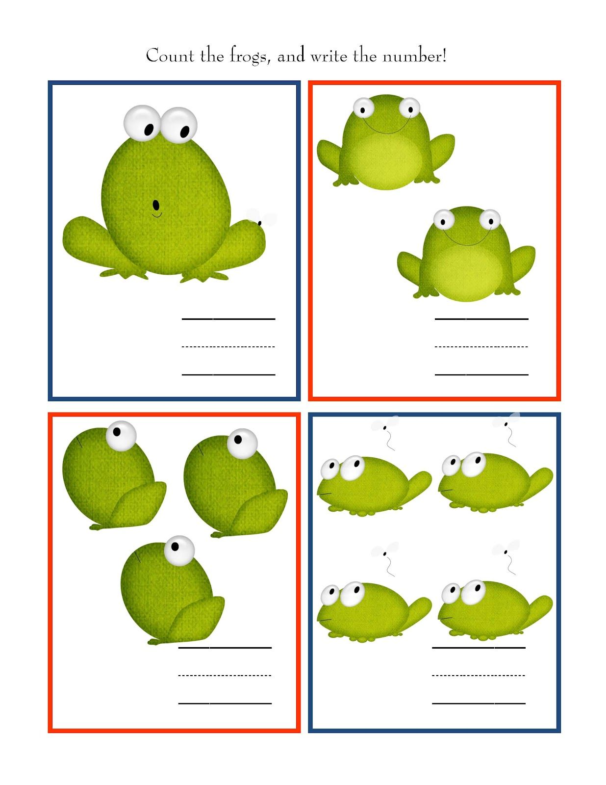 Preschool Printables: Count the number of frogs and then write the ...