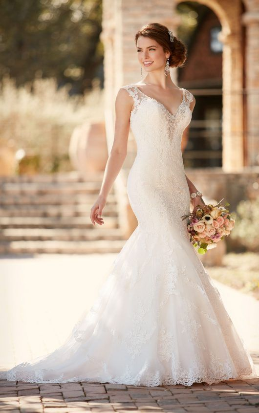 Fit and Flare Wedding Dress with Cap Sleeves | Wedding dress ...