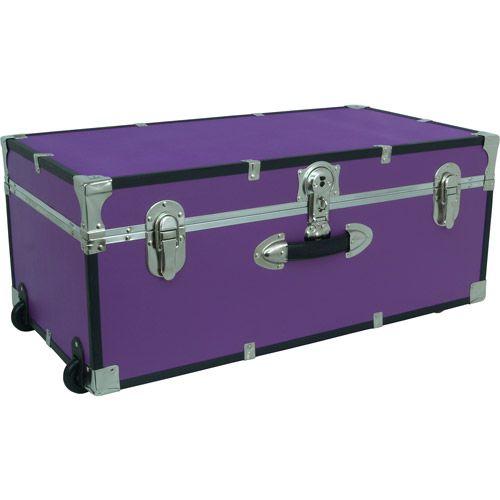 Wheeled Secure Lockable Footlocker Storage Trunk, Purple, Dorm Room  Storage, New