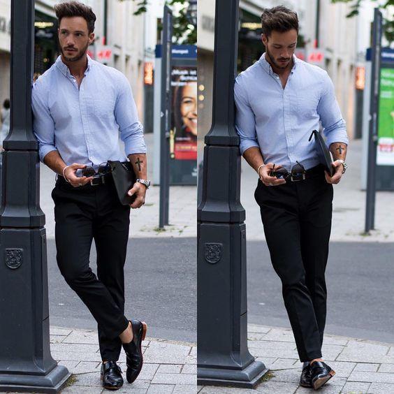 Men\'s Light Blue Chambray Dress Shirt, Black Chinos, Black Leather ...