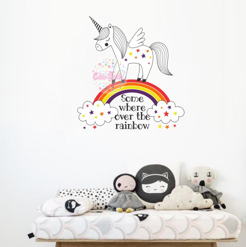 Vinilo Decorativo Infantil Unicornio Arcoiris Frase Nombre