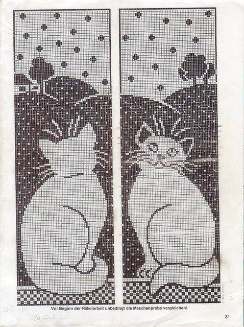 Cross stitch patern *<3*- | Gatoooos | Pinterest | Cortinas, Gato y ...