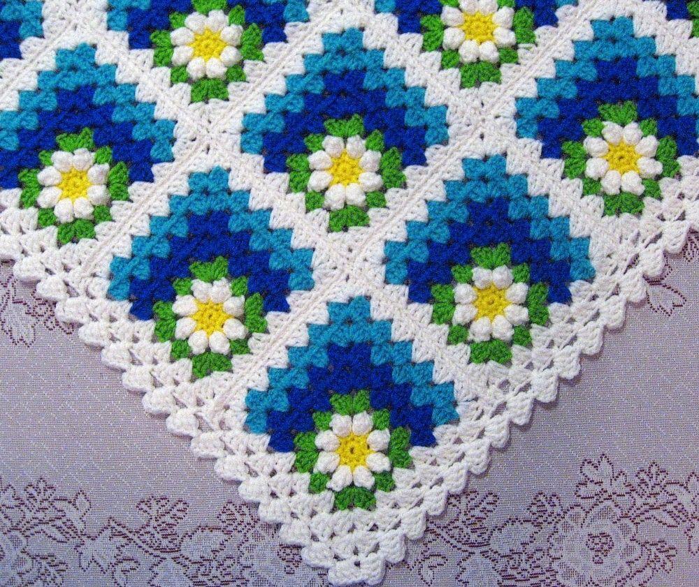 Mitered Summer Daisy Baby Afghan Blanket Pattern - | Manta ...