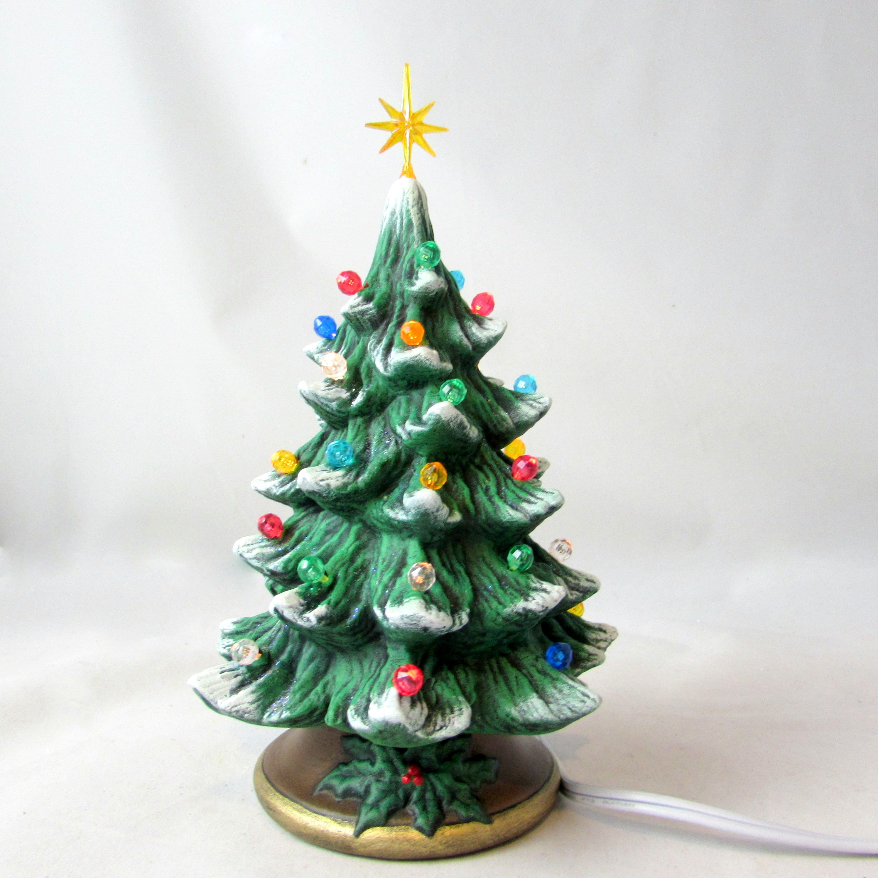 Small Ceramic Christmas Tree 7 Inches With Brown Base Hand Made Pine Tree With Light Kit Ceramic Christmas Trees Christmas Tree Ceramics