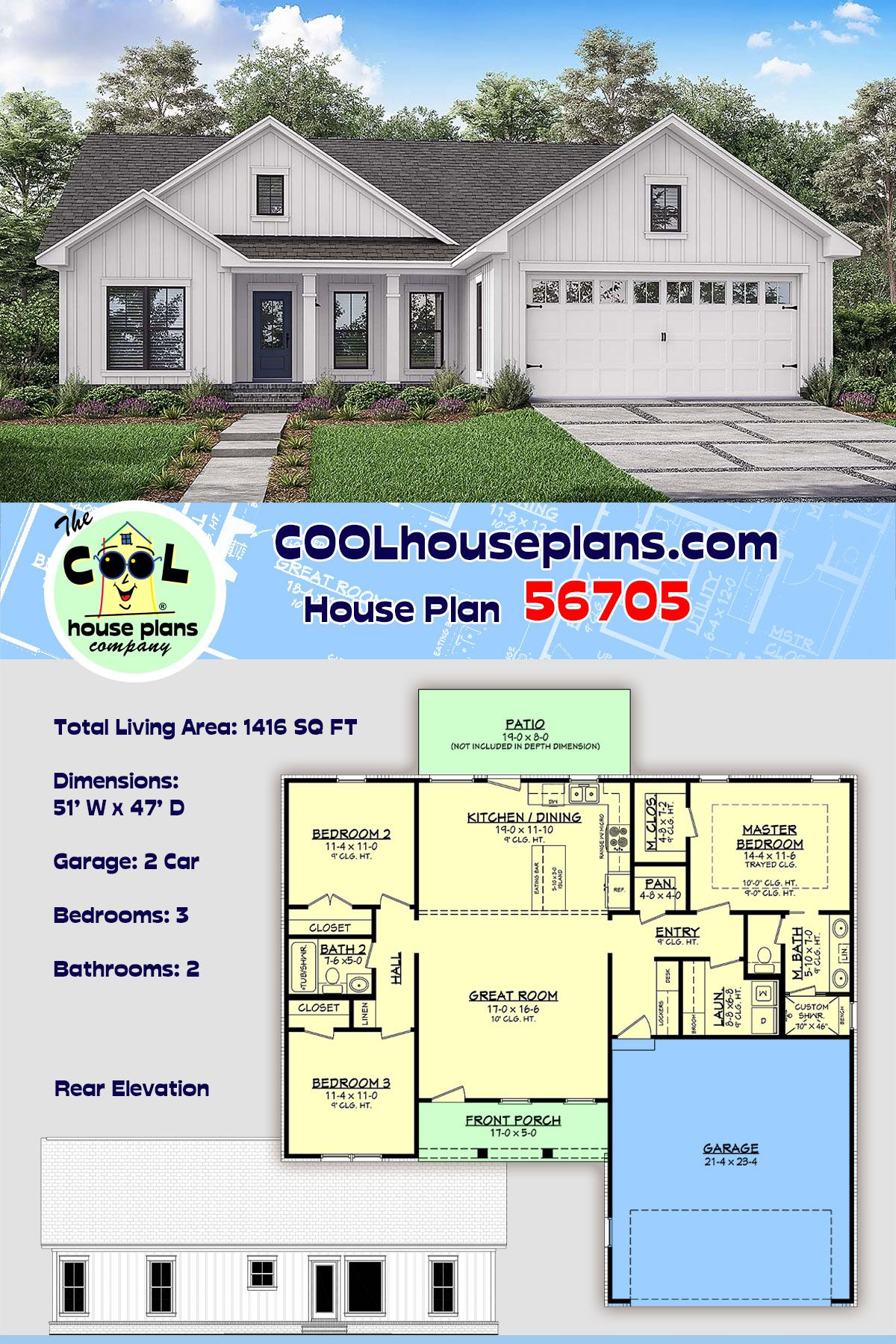 Traditional Style House Plan 56705 With 3 Bed 2 Bath 2 Car Garage House Plans Best House Plans Ranch House Plans