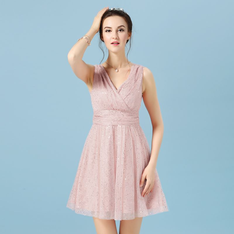 Robe cocktail femme rose pale