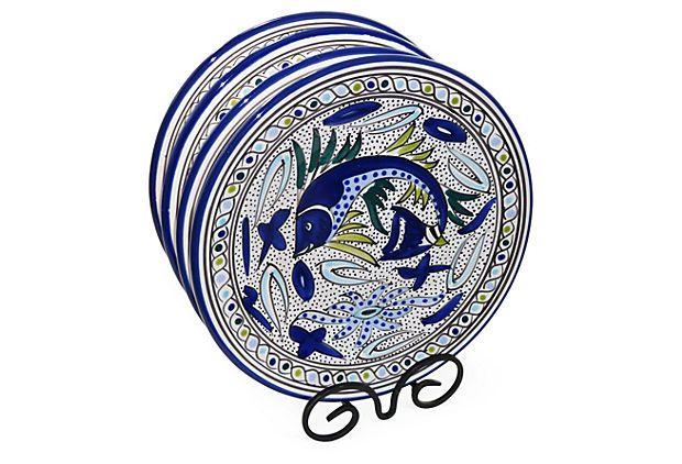 S/4 Aqua Fish Dinner Plates | Tunisian Tableware | One Kings Lane $45 (  sc 1 st  Pinterest & S/4 Aqua Fish Dinner Plates | Tunisian Tableware | One Kings Lane ...