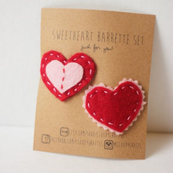 Cloud 9 Crafts!! Sweet Heart Barrette Set Adorable Small Heart by Cloud9Craftss, $6.00