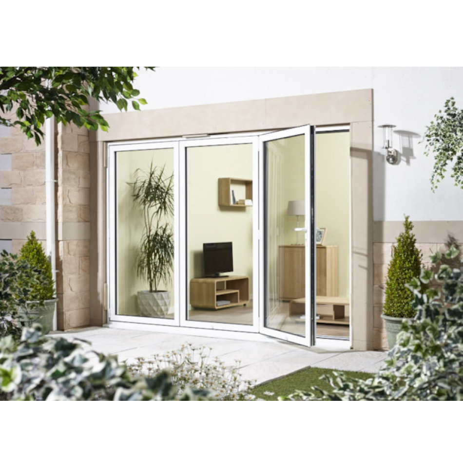 10ft White Aluminium External Door Set Fully Finished 70mm Thick External Doors Sliding Patio Doors Folding Patio Doors