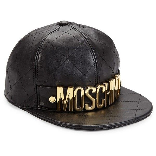Moschino Quilted Leather Logo Cap Leather Quilted Leather Flat Brim Hat